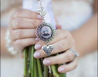 Bridal Bouquet Memory Charm - Wedding Memorial Photo Charm - Bouquet Photo Charm - Bridal Gift - Bridal Photo Pendant - Bouquet Pendant
