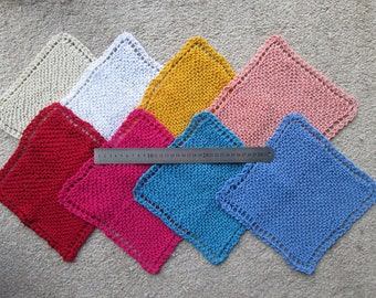 3 x hand knitted 100% cotton dish cloths handmade dishcloths face cloth