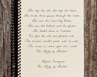 SALE - The Lady of Shallot - Alfred Tennyson Quote - Lady of Shallot Notebook - Lady of Shallot Journal