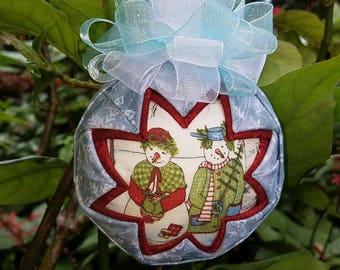 Christmas Ornament - Quilted Handmade Keepsake Ornament Snowman Stroll II