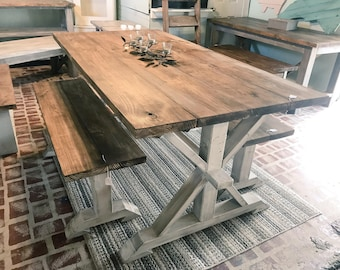 Rustic Pedestal Farmhouse Table With Benches Provincial Brown White Distressed Base Dining Set