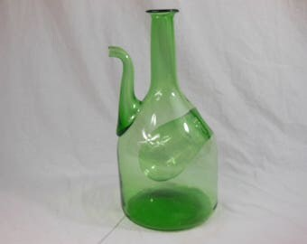 Handblown Italian Glass Decanter With Ice Pocket - Midcentury