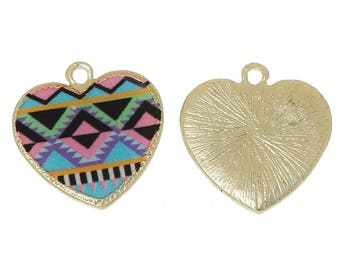 1 heart pendant gold plated multicolor 20x19mm