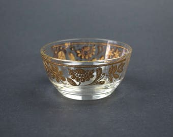 Vintage Glass Berry Bowl, Gold Encrusted Floral Trim