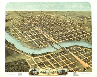 KanKaKee IL Panoramic Map Dated 1869. This print is a wonderful wall decoration for Den, Office, Man Cave or any wall.