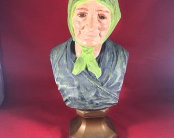 "Babushka Bust - Vintage Grandmother Statue Bust - Holland Mold - 10.5"" x 6"""