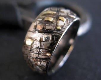 Silver Gold Ring Random Mosaic Domed 10mm Grafitti Ring Mens Ring Mens Wedding Band Viking Wedding Ring Unique Mens Wedding Band Viking Ring