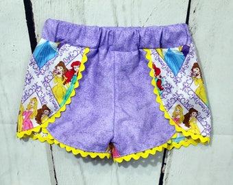 Girls Princess  Shorts- Toddler Girls Princess Shorts- Baby Girls Princess Shorts- Ariel- cinderella- Aurora-6m, 12m, 18m, 2t, 3t 4t, 5, 6,8