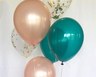 Rose Gold Balloons Rose Gold Teal Latex Balloons Rose Gold Bridal Shower Rose Gold Wedding Rose Gold and Teal Balloons Bachelorette Party