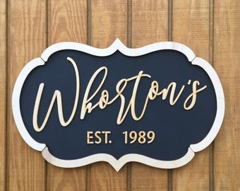 Personalized Family Last Name - With EST. and Year you request - Wood Framed Sign -  Unique style - Natural wood with black background.