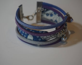 Blue, grey and purple liberty multi-row bracelet with pearls
