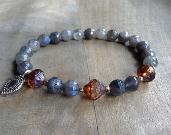 Labradorite 8 mm bohemian bracelet boho chic bracelet hippie bracelet gemstone bracelet hippie bracelet funky womens jewelry boho jewelry