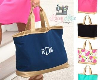 Monogrammed Tote Bag, Monogrammed Shoulder Bag, Travel Carry on,  Personalized Bag, Bridesmaid Gift
