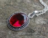 """Natural Sterling Silver Faceted Garnet Pendant Necklace - Sterling Silver - 18"""" Sterling chain - Garnet Necklace - Natural Stone Necklace"""