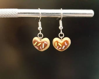 Heart Shaped Donut Dangle earrings- Polymer Clay