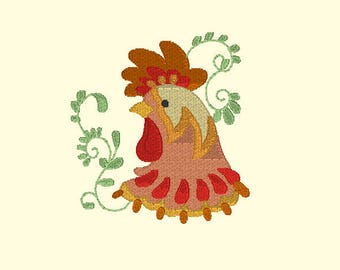 Rooster 1 Embroidery Design,Emboidery of Roosters,Colorful Rooster Embroidery Designs,Animal Embroidery,Kitchen Embroidery Designs