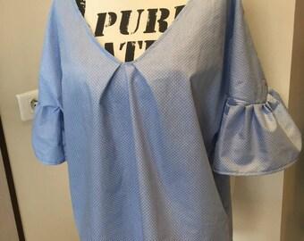 Unique blue pattern cotton blouses
