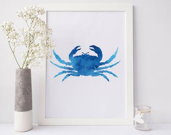 Blue Crab Print, Crab Artwork, Blue Wall Art, Beach Nursery Art, Crab Decor, Bathroom Art, Maryland Blue Crab, Chesapeake Bay Decor Poster