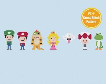 Mario Bros Cross stitch Pattern - Super Mario - Instant Download PDF file - Princess Peach