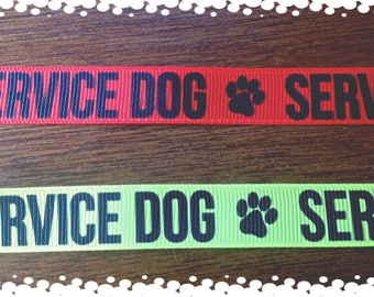 3/4 Inch Wide Custom Made Adjustable Red or Yellow Service Dog Grosgrain Pattern Dog Collar