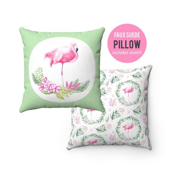 Pillow WITH INSERT - Flamingo Pillow with Filling - Faux Suede 14x14 Pillow, 16x16 Pillow, 18x18 Pillow, 20x20 Pillow