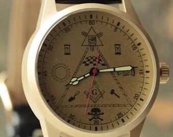 """RAKETA  """"Masonic"""" mechanical soviet men's wrist watch 2609.NA /R-50M"""