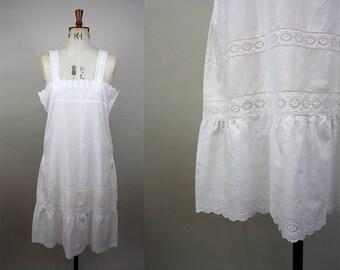 1920s Cotton Nightgown / 20s Cotton Slip / Antique Petticoat / Broderie Anglaise / Flapper Lingerie / Size Medium / M L