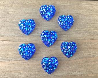 Blue Heart Hair Bow Center, DIY blue druzy cabochons, blue heart flatback hair bow supplies, DIY headband supplies, hair clip centers, boho