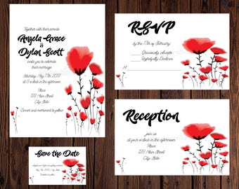 Red Poppies Wedding Invitation Set || Printable