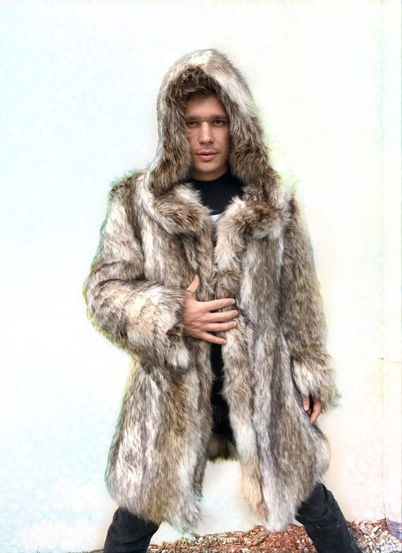 LEO Fitted Fur Coat Burning Man Playa Jacket Mens