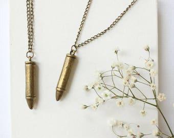 Valentines Day Gift for Boyfriend, Bronze Gift for Him, Bullet Necklace for Men, Unique Valentines Gift for Husband, Bullet Necklace,