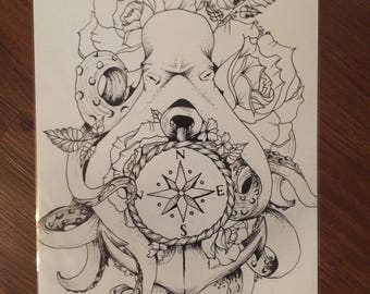Octopus Tattoo Style Drawing Print