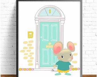 Tooth Fairy print,nursery Tooth Fairy,mouse print,nursery mouse print,animal print,nursery decor,nursery print,4 SIZES INCLUDED