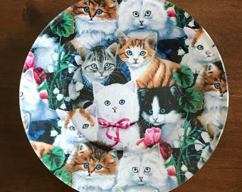 Cat Plates, Decorative Plates, Decoupage Plates, Glass Plates, Bake Sale Plates