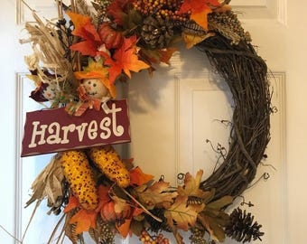 Fall Wreath, Harvest Wreath, Grapevine Wreath, Front Door Wreath, Decorative Wreath