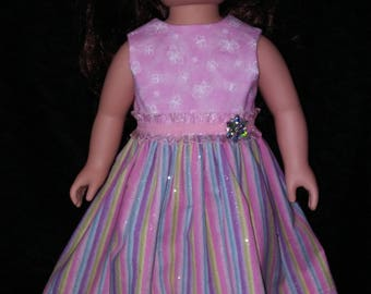"18"" doll clothes. Doll Dress. Party Dress. Pink Stripe. Summer Fun."