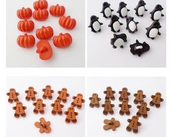10 novelty buttons with shanks pumpkin, penguin, gingerbread man