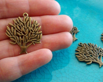 10 trees bronze plated charms pendants DIY bracelets earrings necklaces jewellery making charms nature