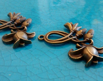 2 bronze flower rose antique bronze plated charms flowers pendants earrings necklaces jewelry making charms bulk