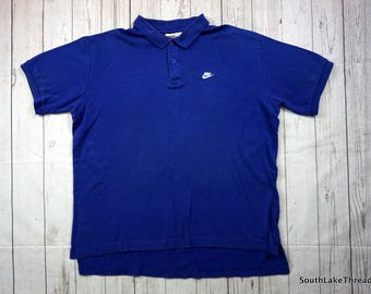 Vintage 80s Nike Polo Shirt, Men's XL, Extra Large, Royal Blue, Vtg Nike, 80s Nike, Air Nike