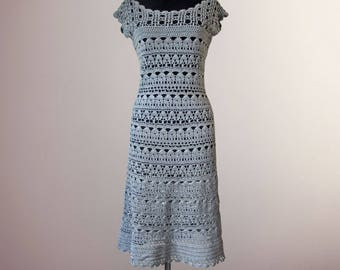 Crochet dress Hannah. Handmade grey women casual or special occasion organic cotton crochet dress. Ready to ship. Free shipping.