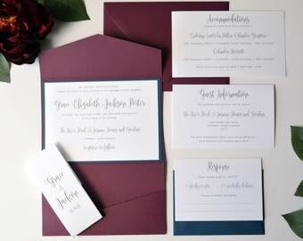 Burgundy Wedding Invitation, Navy Wedding Invitation, Burgundy and Navy Blue, Pocket Fold, Modern Wedding invitations