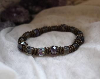 Aura Quartz, Protection Bracelet, Yoga Bracelet, Meditation Bracelet, Vegan Bracelet, Grounding Bracelet, Healing Crystals, Ethnic Bracelet
