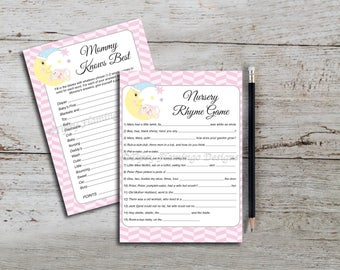 Baby Shower Games, Two Pack, Mommy Knows Best, Nursery Rhymes, Pink, Baby Bunny, Moon, Party Supplies, PDF Printable, Instant Download T30B