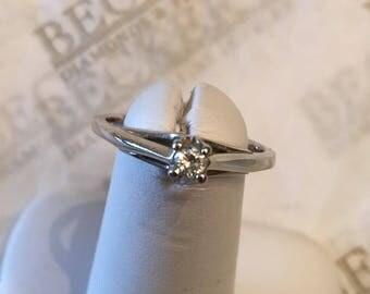 Vintage 10k white gold Round Brilliant Cut Diamond Sweetheart Solitaire Engagement Ring .10 ct, K-I1 sz 6.75, 4 prong Split Shank, Magicglo