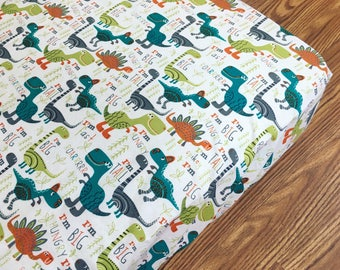 Dinosaur Crib Sheet / T-Rex, stegosaurus / baby boy bedding, nursery sheet, crib bedding / cotton