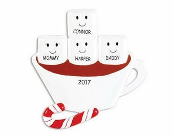 Personalized Hot Chocolate and Marshmallow Family Christmas Ornament - Family of 4