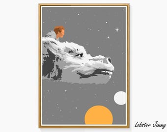 The NeverEnding Story Print, Printable Digital Art, Falkor, Movie Posters, Limahl, 80s Style, Movie Prints, Instant Download