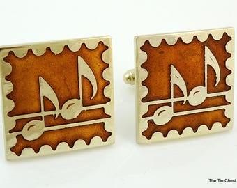 Huge Vintage Music Cufflinks Orange Enamel Gold Tone Notes