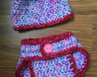 Crocheted newborn diaper cover and hat
